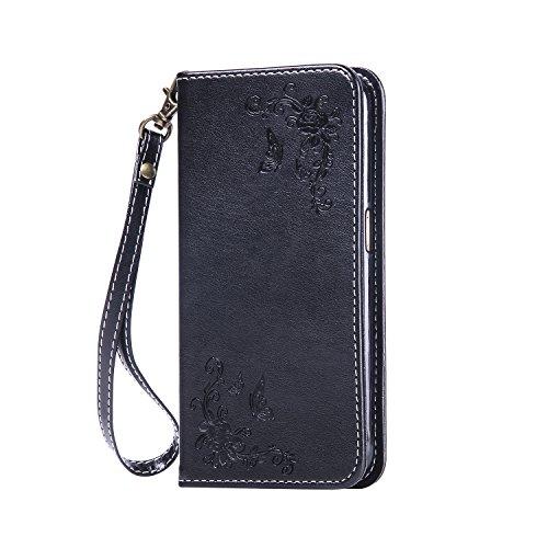 LG V10 Hülle Leder, Lomogo Schutzhülle Brieftasche mit Kartenfach Klappbar Magnetverschluss Stoßfest Kratzfest Handyhülle Case für LG V10 (H960A) - HOHA22818 Schwarz