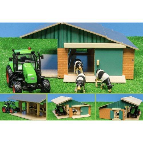 Niños Globe 5610049 - a partir del conjunto juego de granja, incl. establos con 3 vacas y tractores con luces y sonidos