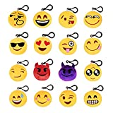 West See 16Pack Emoji Mini Schlüsselbund Plüsch Neuheit Schlüsselringe Smiley Dekorationen Geschenke für Kid und Erwachsene