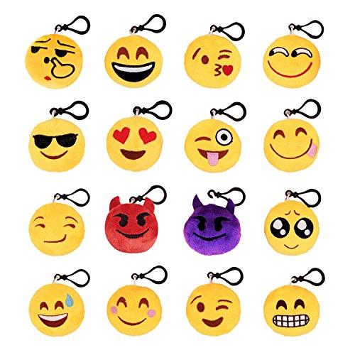 emoji party deko West See 16Pack Emoji Mini Schlüsselbund Plüsch Neuheit Schlüsselringe Smiley Dekorationen Geschenke für Kid und Erwachsene