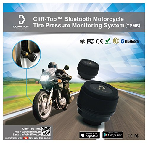 Cliff-Top® Bluetooth Motorrad Reifendruckkontrollsystem (TPM) + zwei externe Sensoren