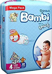 Sanita Bambi, Size 4, Large, 8-16 kg, Mega Pack, 80 Diapers