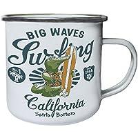 Big Waves Surfing Santa Barbara Crocodile Surfer Retro, lata, taza del esmalte 10oz/280ml y118e