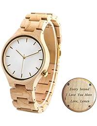 Reloj de pulsera de madera de arce con grabado gratuito, reloj de cuarzo analógico de