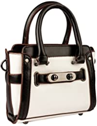 VOYAGE BLACK AND WHITE HAND BAGS WITH SLING