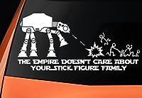 """Nella confezione è incluso un altro adesivo a tema Star Wars. Si prega di guardare le immagini. Adesivo con un Camminatore AT-AT e con la scritta in lingua inglese: """"The empire doesn't care about your stick figure family"""", facile da applicare..."""