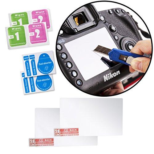 Movo (2 Pack) Optische Glas-LCD-Display-Schutzfolien für Nikon D800, D800E, D800S, D810 DSLR-Kamera - Bietet UV-, Kratz- & Staubschutz -