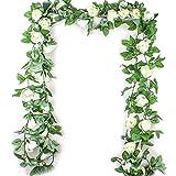 mi ji Flores Artificiales 2,5M simulación Flor de Rose Rattan Vine Wisteria Seda Garland Colgando de la Rota...