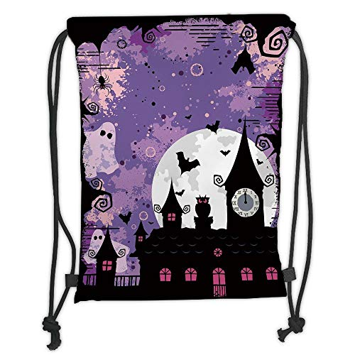 Fashion Printed Drawstring Backpacks Bags,Vintage Halloween,Halloween Midnight Image with Bleak Background Ghosts Towers and Bats Decorative,Purple Black Soft Satin,5 Liter Capacity,Adjustable Str (Phone Halloween Backgrounds)