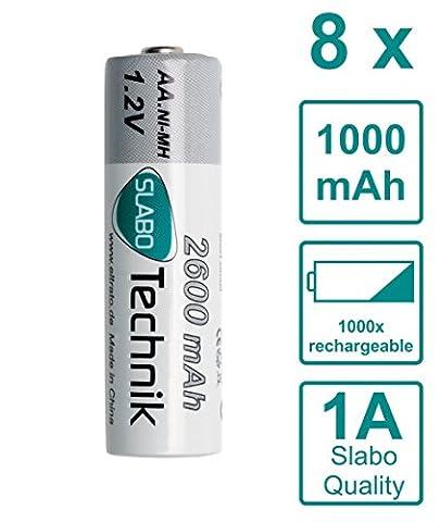 Slabo Ni-Mh AA Akkus Mignon Batterien wiederaufladbar - 2600mAh / 1.2V - HR6 Hochleistungs Akku AA rechargeable - 8er-Pack