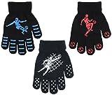 3 Pairs Boys Gripper Magic Gloves Football Designs