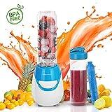 Aigostar Blueberry 30JDI - 600W Mini blender mixeur portable avec un tube réfrigérant. 0% BPA. Inclus 2 verres en Tritan de 600 ml et 2 couvercles. Idéal pour smoothies, milk-shakes et jus de fruits.