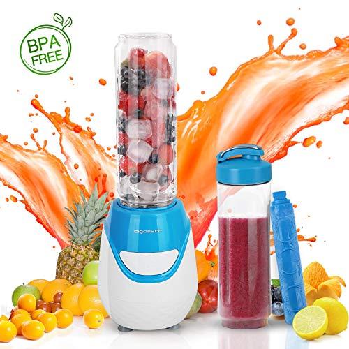 Aigostar Blueberry 30JDI - Batidora de vaso portátil, 600W, tubo refrigerante, incluye 2 vasos portátiles...
