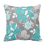 Einzigartige türkis Gray weiß floral dekorativer Überwurf-Kissenbezug Home Decor Kissen Fall mit Reißverschluss Couch Kissenbezug, quadratisch 45,7x 45,7cm