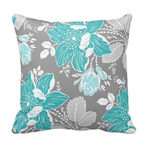 Einzigartige türkis Gray weiß floral dekorativer Überwurf-Kissenbezug Home Decor Kissen Fall mit Reißverschluss Couch Kissenbezug, quadratisch 45,7x 45,7cm -