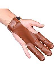 Microfibra guantes de tiro con arco de cuero dos dedos Protectore Shooting guantes para las mujeres y hombres, talla única, marrón