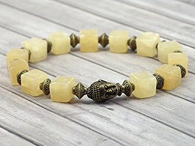 Bracelet pour femme esprit Zen en perles carrées de quartz jaune avec tête de Bouddha