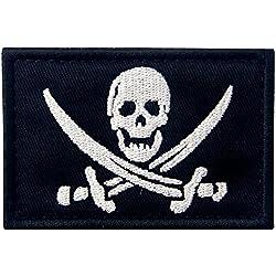 Parche de bandera pirata, con gancho para broche.