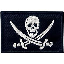 Bandera Pirata T¨¢ctico Militar Emblema Moral Aplique Broche Bordado de Gancho y Parche de Velcro, Blanco