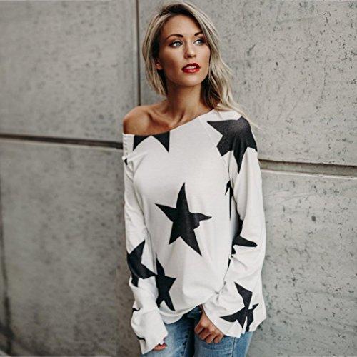 Vêtements LILICAT Womens Mesdames sans bretelles Star Sweatshirt Crop Sleeve Top S-4XL white