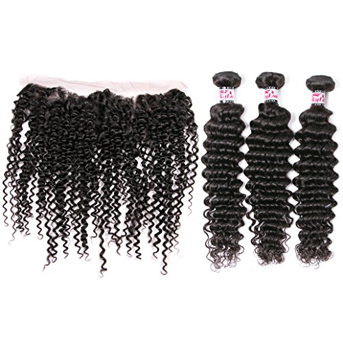 Silkylong Peruvian Hair Bundles With Closures 7A Unprocessed 3 Bundles Deep Curly...
