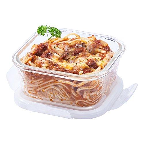 Easylock – Recipiente de almacenamiento de alimentos con tapa para microondas, cuadrado, 520 ml
