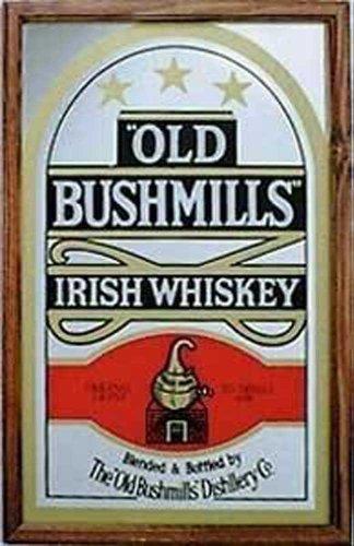 old-bushmills-irish-whisky-su-vetro-stampato-con-cornice-in-plastica-effetto-legno