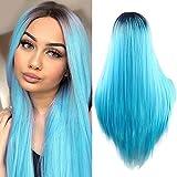 Golden Rule Lady/Damen Perücken Fashion Ombre Hitzeresistente Synthetik Blau gerade Perücke Sechs Farbe sind erhältlich