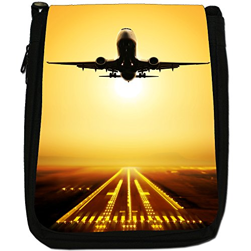 Velivoli con motivo aeroplani di Planes, colore: nero, Borsa a spalla in tela da uomo, taglia media Sunset With Airplane & Runway