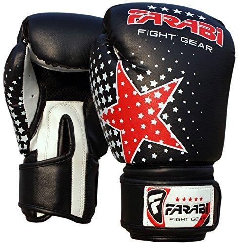 Farabi Kinder Boxhandschuhe, MMA, Muay Thai Junior Boxsack Handschuhe schwarz (Kind Schwarz Handschuhe)