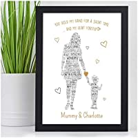 PERSONALISED Mum Mummy and Children Son Daughter Gifts Keepsake Presents Her - Birthday Christmas Mothers Day Gifts - A5 A4 Framed Prints or 18mm Wooden Blocks - Mum Mummy Nanny Granny Auntie ANY NAME