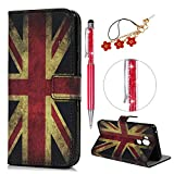 iAdvantec LG G7 ThinQ Hülle Case, Filp PU Leder Wallet Handyhülle Flipcase : Bookstyle Gemalt Tasche Brieftasche Schutzhülle in Britische Flagge + Anti Staub Stöpsel + Stylus