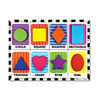 "Melissa & Doug Shapes Chunky Puzzle, Preschool, Chunky Wooden Pieces, Full-Color Pictures, 8 Pieces, 12"" H x 11"" W x 0.9"" L"