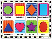Melissa & Doug Shapes Chunky Puzzle, Preschool, Chunky Wooden Pieces, Full-Color Pictures, 8 Pieces, 12""