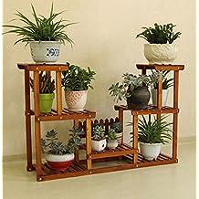 0b84417ab818 JAZS® Multi-couche en bois massif Flower Rack Balcon Living Pastoral Fleur  Pot Frame