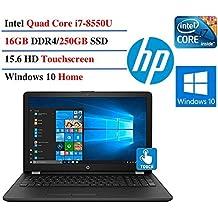 HP Touchscreen Notebook 15.6 Inch High Performance Laptop Computer (Intel I7-8550U Up To 4GHz, 16GB RAM, 250GB SSD, DVD, WiFi, HD Webcam, Windows 10 Home) Black/Gray Lid