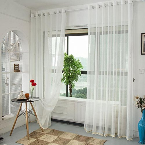 Solid Color High-Quality Hohl Screens Breath Plain Balkon Schlafzimmer bloße Fenstervorhänge Belüftet 78.7inch * 106inch (1-teilig) , big size -