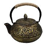 AiSi Asiatische Vintage Chinesische Kung Fu Manuelle polierte Teekanne/Teekessel/ Kanne aus Gusseisen mit Teesieb (aus Edelstahl), Blumen Muster 900ml Schwarz und Gold