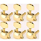 Musiclily Guitare 6-en-ligne Semiclosed Tuners Tuning Key Pegs Machine Head Set main droite pour Fender remplacement,Or