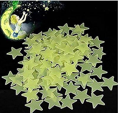 Generic 100Pcs Glow in the Dark Star Aufkleber, 3D Night Fluoreszenz Aufkleber, Yellow Star Stickers Dekor Wand für Kinder Zimmer Schlafzimmer von Cheenjo auf Du und dein Garten