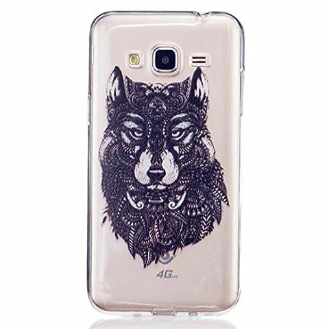 MUTOUREN Samsung Galaxy J3 case cover Crystal Clear TPU Silicone Case Transparent Ultra Slim Gel Anti-scratch Case Bumper - Black Wolf
