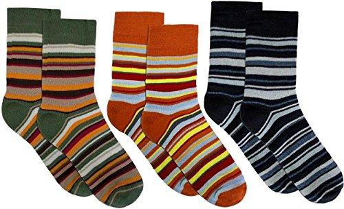3 Paar Sehr warme Kinder Thermo Kniestrümpfe mit Ringel Design Farbe Jungen/Ringel/Socken Größe 31-34 (34 Designs)