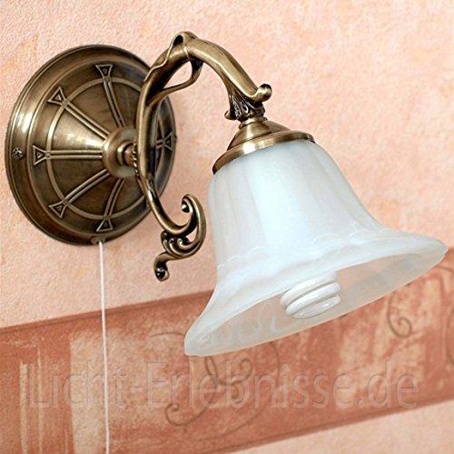 Bronze-metall-wandleuchte (Wandleuchte Metall in Bronze Alabaster Bronze Zugschalter Wandlampe Leselampe Schlafzimmer Wohnzimmer)