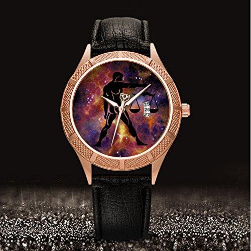 Golden Armbanduhr Kalender Datum dünn Classic Casual Uhr mit Schwarz Leder Band großes Gesicht Uhren Starry Sky series-312. Sternzeichen, Horoskop, Astrologie (1) (312-serie)