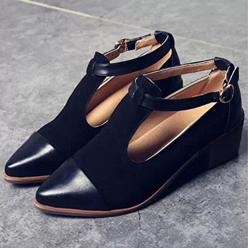 Yogogo Vintage femmes pointues talon talon coupé Patchwork Buckle chaussures talon compensé Noir