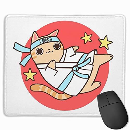 Mauspad/Mauspad mit Karate-Katzen-Motiv, rutschfest, Gummi, für Computer, Laptop, 24,8 x 29,5 cm