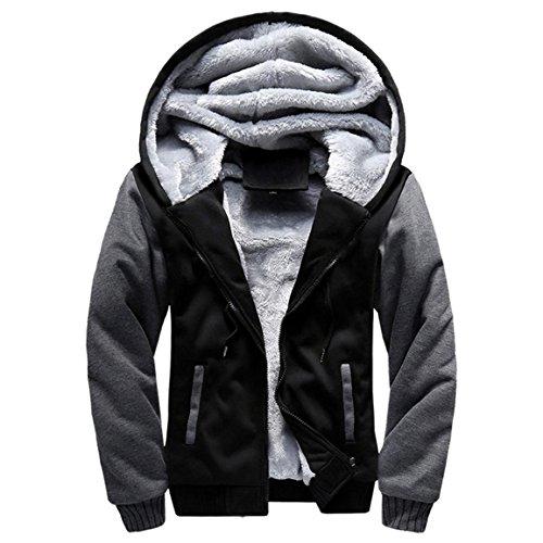 Herren Winterjacke,Moonuy Herren Boy M-5XL Hoodie Winter Warm Fleece Reißverschluss Pullover Charme Stilvolle Jacke Patchwork Hot Outwear Baumwollmantel in grau, rot, schwarz (Schwarz, M)