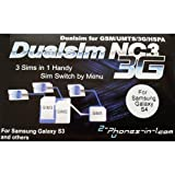 2-phones-in-1® 2in1-nc3s4 NC3 Dual/Triple Sim Adapter für Samsung Galaxy S4