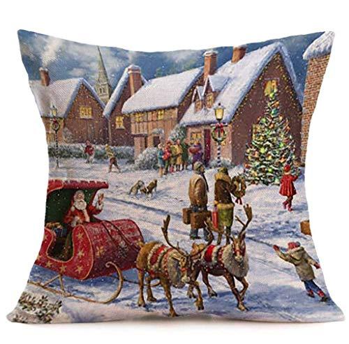 Federa di natale, scpink albero di natale e pupazzo di neve divano in lino decorazione cuscino vita cuscino 18x18 (d)