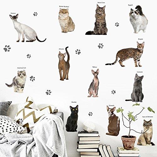 3D Wandtattoo Wandtattoo Schlafzimmer Wandstickersimulation Kätzchen Wand Aufkleber Küche Schrank Dekoration Kühlschrank Aufkleber, Süße Simulation Katze Serie 7084, G -